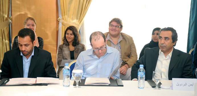 CPJ executive director Joel Simon (centre) at the workshop yesterday.