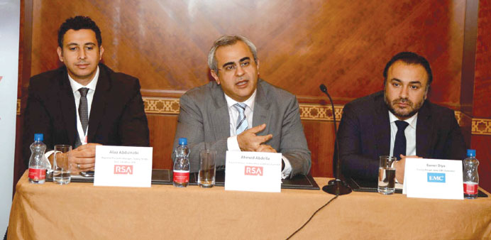Abdella (centre) speaking about cyber security threats as Diya (right) and Abdulnabi look on.