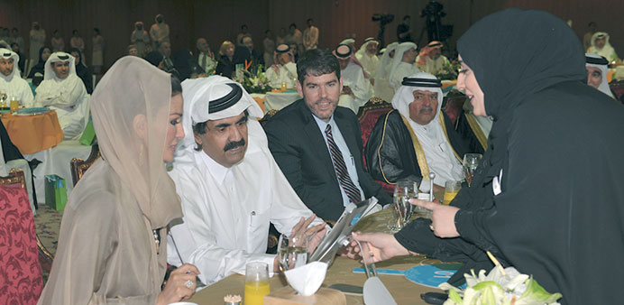 HH the Emir Sheikh Hamad bin Khalifa al-Thani and HH Sheikha Moza bint Nasser at the Social Developm