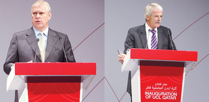 Prince Andrew (left) and Sir Malcolm Grant address the gathering.