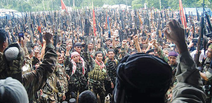Muslim rebels gather for a rally