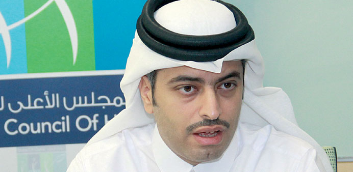 Dr Mohamed al-Thani at the press conference yesterday.