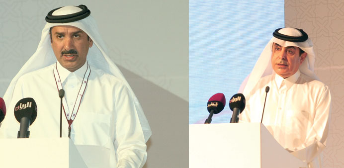 Sheikh Hamad bin Jaber bin Jassim al-Thani and Nasser bin Abdulaziz al-Nasser addressing the forum.