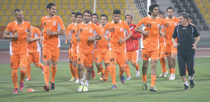 Iran Pro League runners-up Tractorsazi players train ahead of their Asian Champions League match aga