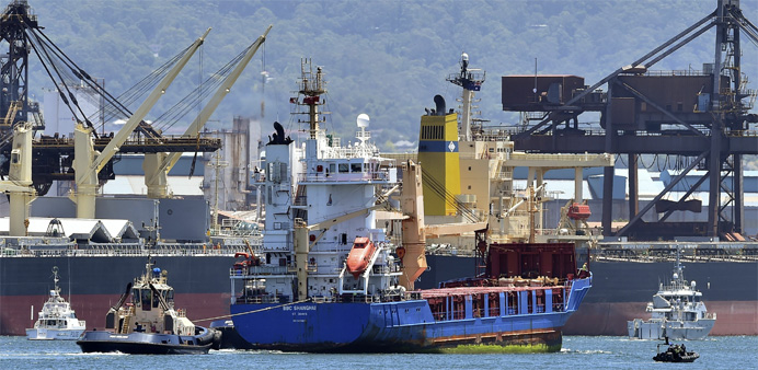 A ship transporting reprocessed nuclear waste arrives at Port Kembla in New South Wales