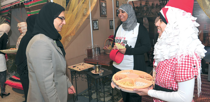 Prof Sheikha Abdulla al-Misnad visiting one of the booths.