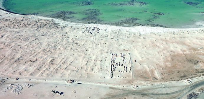 An aerial view of a section of the archaeological remains of Al Zubarah settlement.