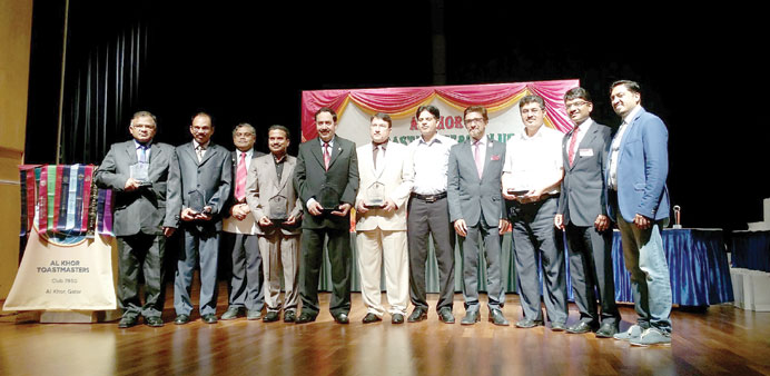 RECOGNITION: The Alkhor Toastmasters excom with the guests at the ceremony to mark 300 sessions at t