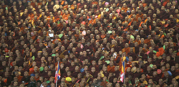 Thousands of monks from Myanmar's Ma Ba Tha Buddhist nationalist movement gather in a sports stadium