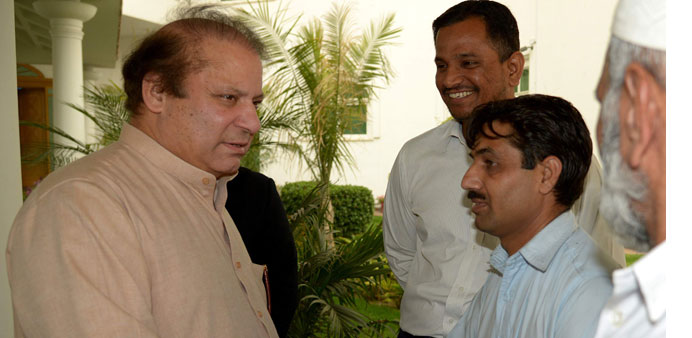 Former Pakistani prime minister and head of the Pakistan Muslim League-N Nawaz Sharif meets party s