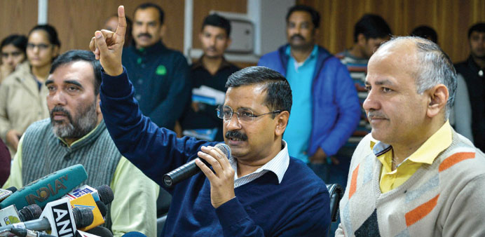 Delhi Chief Minister Arvind Kejriwal gestures as he addresses the media in New Delhi yesterday.