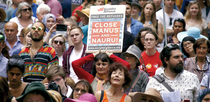 A rally in support of refugees in central Sydney yesterday.