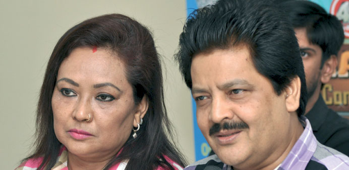 Udit Narayan and Deepa Narayan in Doha yesterday.