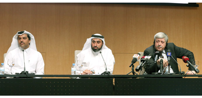 Dr al-Khanji, Telefat and Vlassis speak yesterday about the Doha Youth Forum on Crime Prevention and