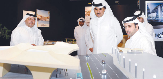 HH the Emir Sheikh Tamim bin Hamad al-Thani being briefed by officials of Qatar Rail Company yesterd