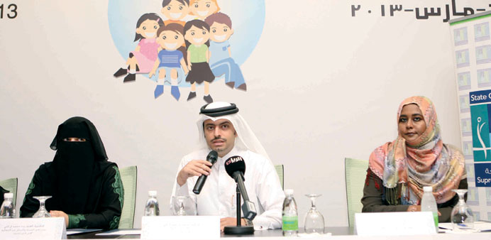 Dr Mohamed al-Thani flanked  by Dr Alanoud al-Thani (left) and Bagadi, makes a point yesterday.